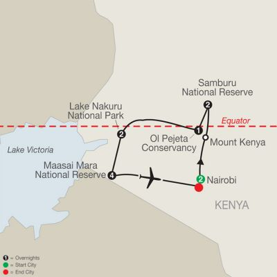 Map for Kenya: A Classic Safari with Nairobi & Stay in Maasai Mara 2021 - 12 days from Nairobi to Nairobi
