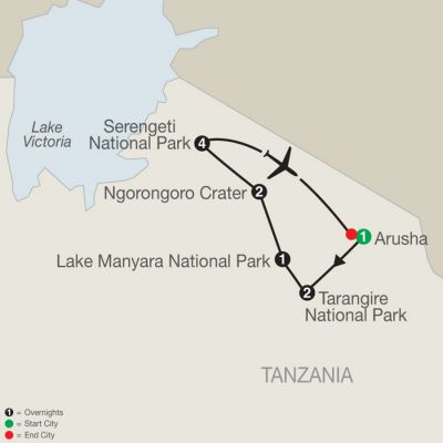 Map for Tanzania: The Serengeti & Beyond with Stay in Serengeti 2021 - 11 days from Arusha to Arusha