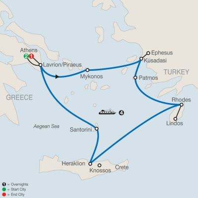 Map for Iconic Aegean with 4-Night Cruise 2020 - 8 days from Athens to Athens
