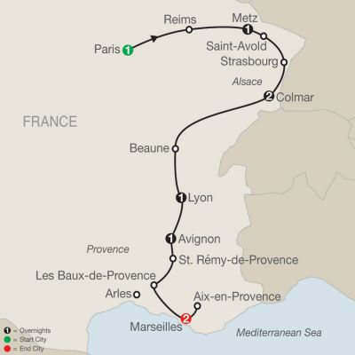 Map for Paris, Champagne & The French Countryside 2020 - 9 days from Paris to Marseille