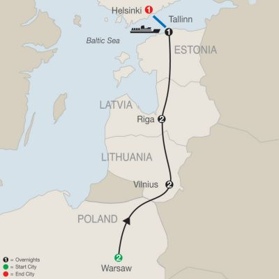 Map for Warsaw, the Baltics & Helsinki 2020 - 9 days from Warsaw to Helsinki