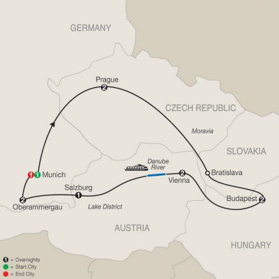 Map for Imperial Splendors with Oberammergau 2020 - 12 days from Munich to Munich