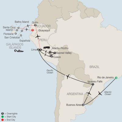 Map for Spirit of South America with Galápagos Cruise 2020 - 22 days from Rio de Janeiro to Guayaquil