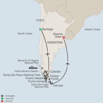 Map for Patagonia: Journey to the End of the World 2020 - 13 days from Santiago to Buenos Aires