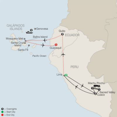 Map for Peru Splendors with Galápagos Cruise 2020 - 13 days from Lima to Guayaquil