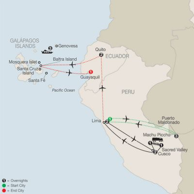 Map for Peru Splendors with Peru's Amazon & Galápagos Cruise 2020 - 17 days from Lima to Guayaquil