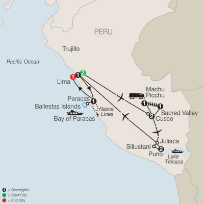 Map for Legacy of the Incas 2021 - 12 days from Lima to Lima