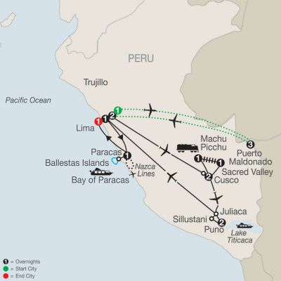 Map for Legacy of the Incas with Peru's Amazon 2020 - 16 days from Lima to Lima