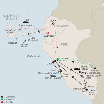 Map for Legacy of the Incas with Peru's Amazon & Galápagos Cruise 2020 - 23 days from Lima to Guayaquil