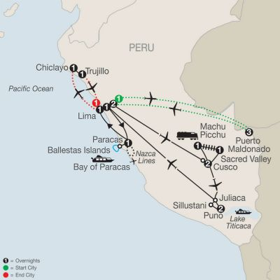 Map for Legacy of the Incas with Peru's Amazon, Chiclayo & Trujillo 2021 - 19 days from Lima to Lima