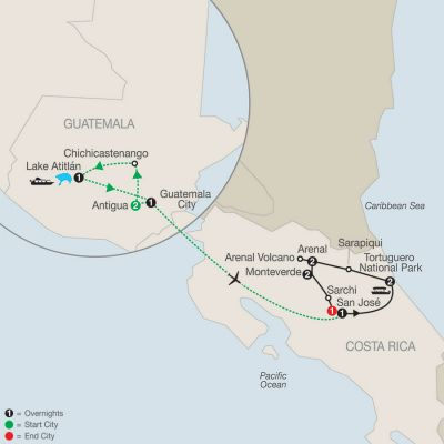 Map for Natural Wonders of Costa Rica with Guatemala 2020 - 13 days from Guatemala City to San José