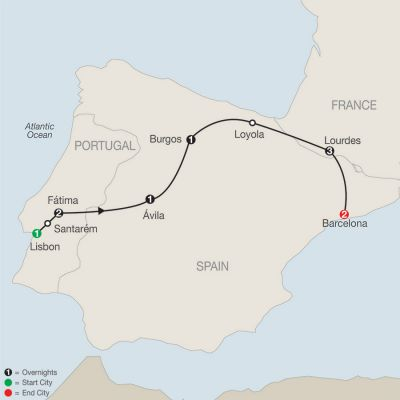 Map for Marian Shrines of Europe – Faith-Based Travel 2020 - 11 days from Lisbon to Barcelona