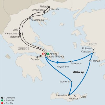 Map for Footsteps of Apostle Paul – Faith-Based Travel 2020 - 10 days from Athens to Athens