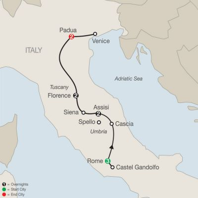 Map for Grand Catholic Italy – Faith-Based Travel 2020 - 10 days from Rome to Padua