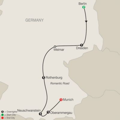 Map for German Vista with Oberammergau 2020 - 8 days from Berlin to Munich