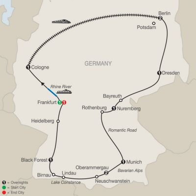 Map for German Highlights with Oberammergau 2020 - 12 days from Frankfurt to Frankfurt
