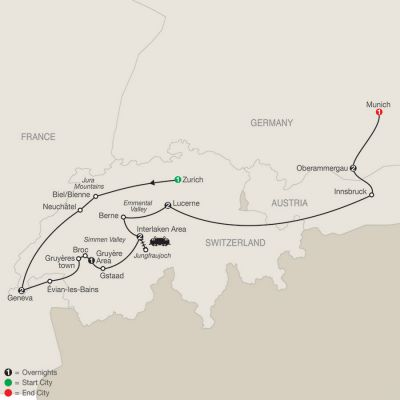 Map for Spectacular Switzerland with Oberammergau 2020 - 12 days from Zurich to Munich