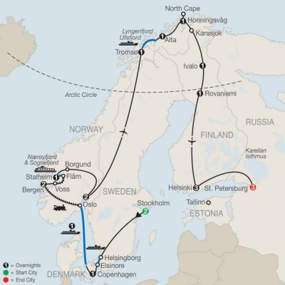 Map for The Grand Scandinavian Circle Tour with St. Petersburg 2020 - 21 days from Stockholm to St. Petersburg