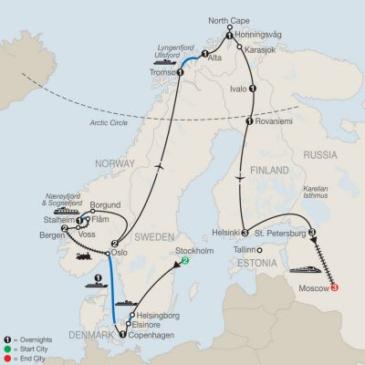 Map for The Grand Scandinavian Circle Tour  with St. Petersburg & Moscow 2020 - 24 days from Stockholm to St. Moscow