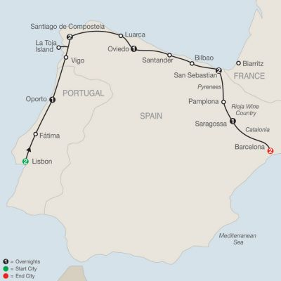 Map for Lisbon & Northern Spain 2020 - 12 days from Lisbon to Barcelona