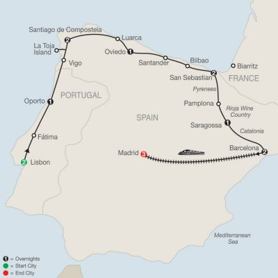 Map for Lisbon & Northern Spain with Madrid 2020 - 15 days from Lisbon to Madrid