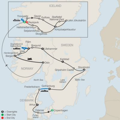 Map for The Scandinavian with Iceland 2020 - 19 days from Copenhagen to Reykjavik