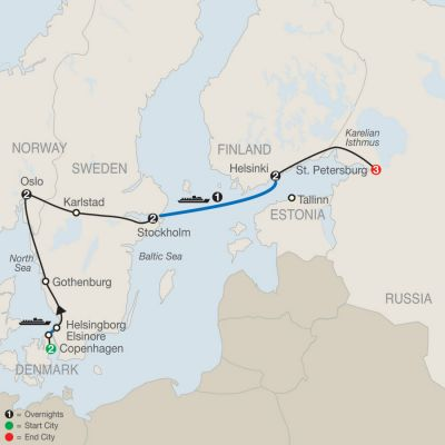 Map for Northern Capitals with St. Petersburg 2020 - 13 days from Copenhagen to St. Petersburg