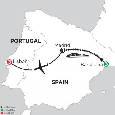 Map for 3 Nights Barcelona, 3 Nights Madrid & 3 Nights Lisbon 2019