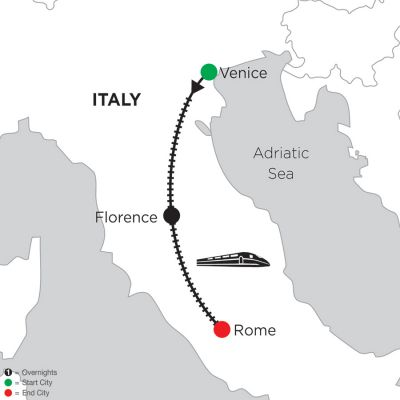 Map for 2 Nights Venice, 2 Nights Florence & 3 Nights Rome 2019