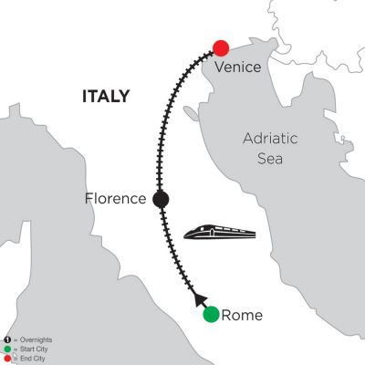 Map for 2 Nights Rome, 4 Nights Florence & 3 Nights Venice 2019