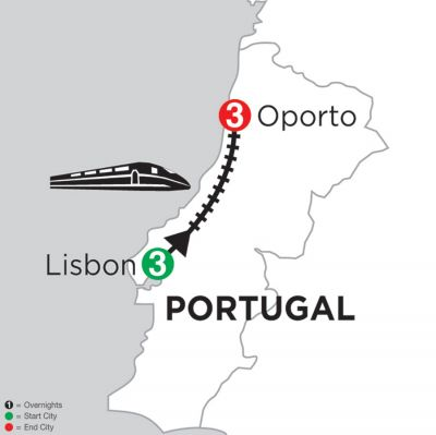 Map for 3 Nights Lisbon & 3 Nights Oporto 2019
