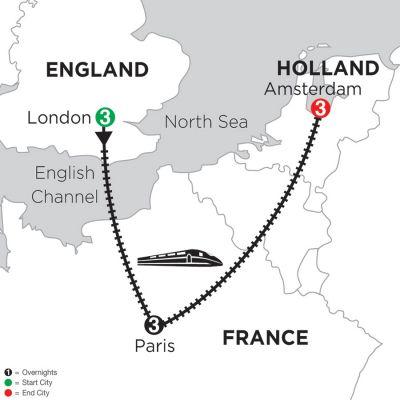 Map for 3 Nights London, 3 Nights Paris & 3 Nights Amsterdam 2019
