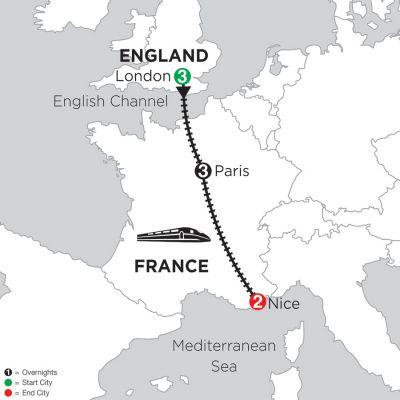 Map for 3 Nights London, 3 Nights Paris & 2 Nights Nice 2019