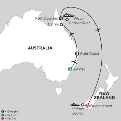 Map for Sun & Fun Down Under with Queenstown 2020 - 14 days from Sydney to Queenstown