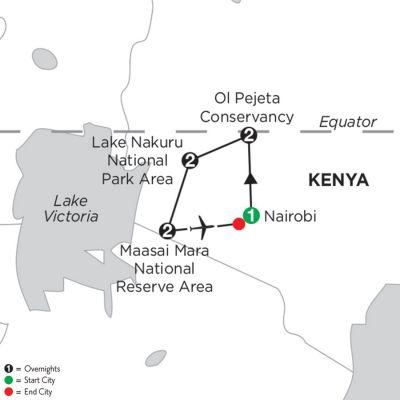 Map for Kenya Private Safari 2019 - 8 days from Nairobi to Nairobi