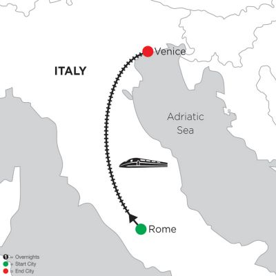 Map for 2 Nights Rome & 3 Nights Venice 2020
