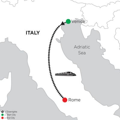 Map for 5 Nights Venice & 5 Nights Rome 2020