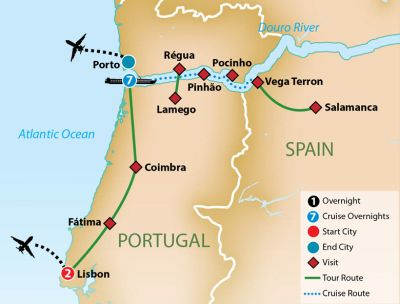 Map for Portugal and the Douro River Cruise 2019