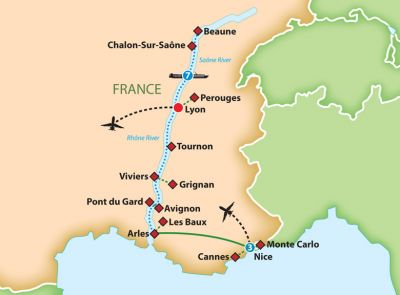 Map for Sensations of Lyon  and Provence River Cruise 2019