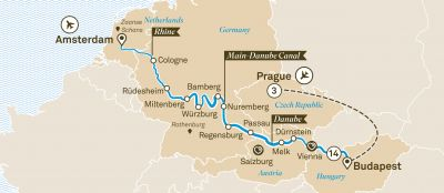Map for Christmas Markets with Prague
