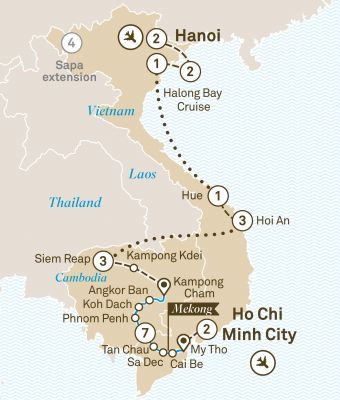Map for Essence of Vietnam, Cambodia & Luxury Mekong