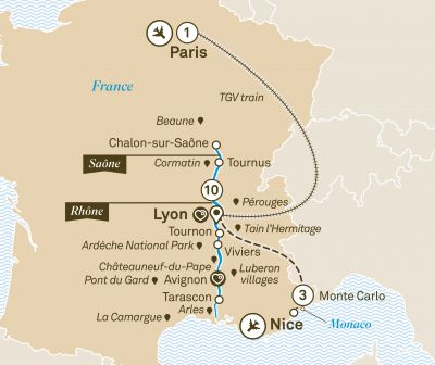 Map for Spectacular South of France with Monte Carlo