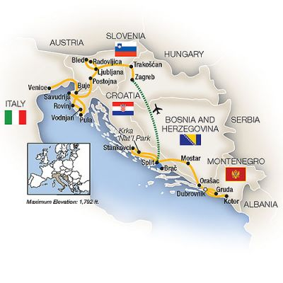 Map for Adriatic Treasures: Croatia to Venice
