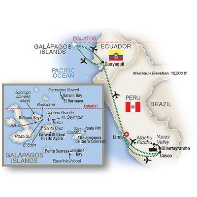 Map for Hidden Galápagos & Peru