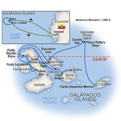 Map for Cruising the Galápagos Islands