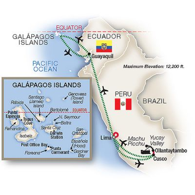 Map for Peru and the Galápagos Islands