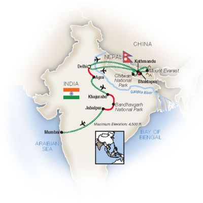 Map for Northern India & Nepal