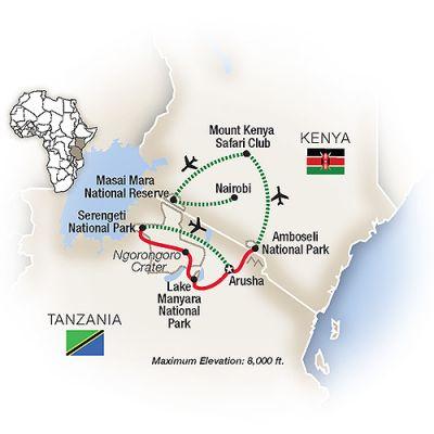 Map for Kenya & Tanzania: A Classic Safari