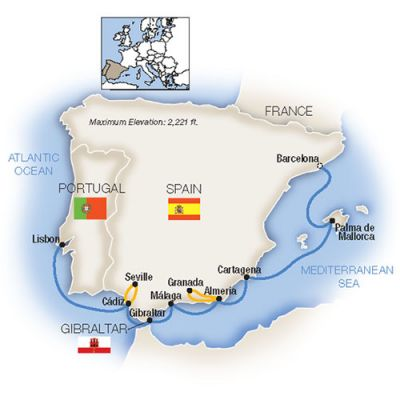 Map for Treasures of Spain and Portugal - Westbound