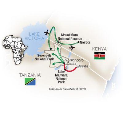 Map for Great Migration: Tanzania & Kenya